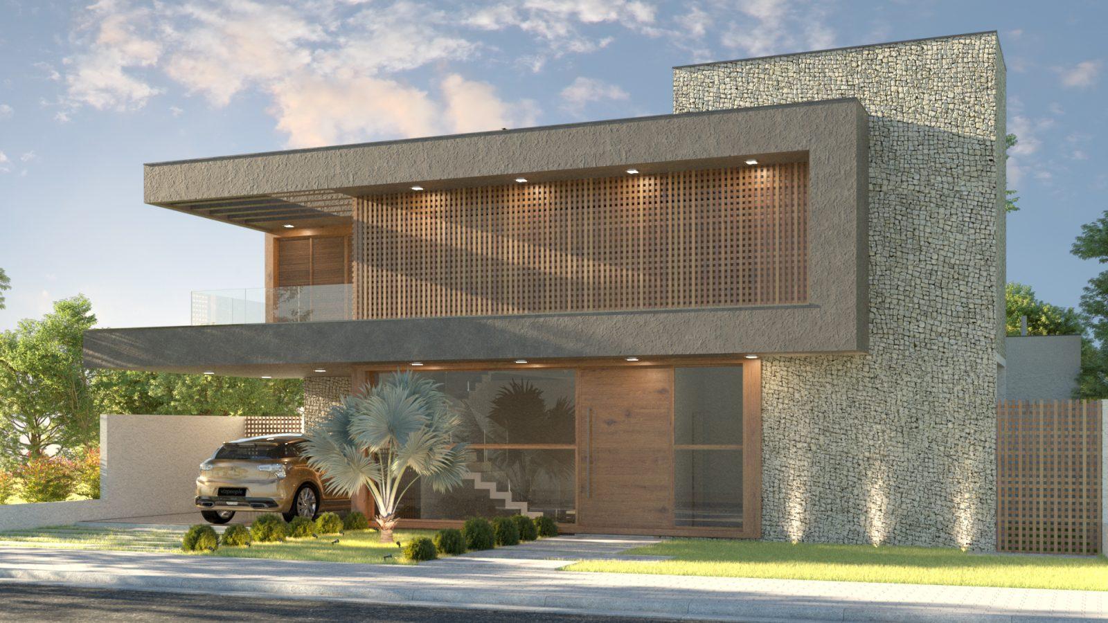 Vista lateral de uma casa modernista, com amplas janelas e um carro na garagem.
