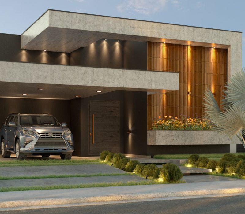 Fachada lateral projeto residencial, com um carro na garagem.