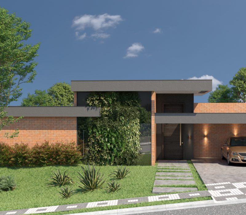 Casa modernista tijolinhos, com um carro na garagem.