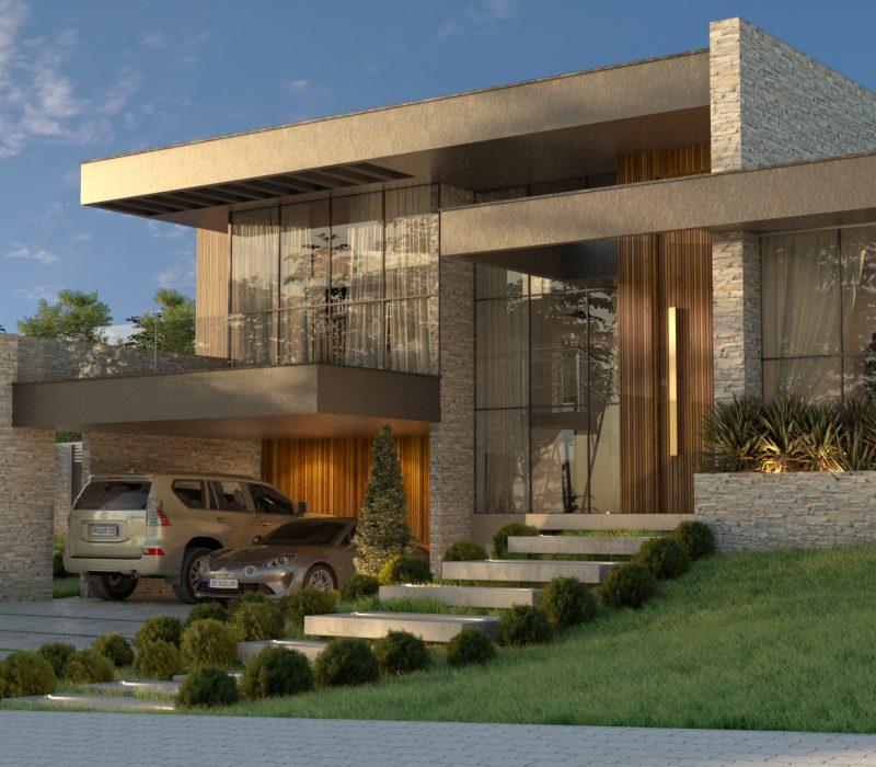 Fachada lateral de casa modernista, com janelas amplas e dois carros na garagem.