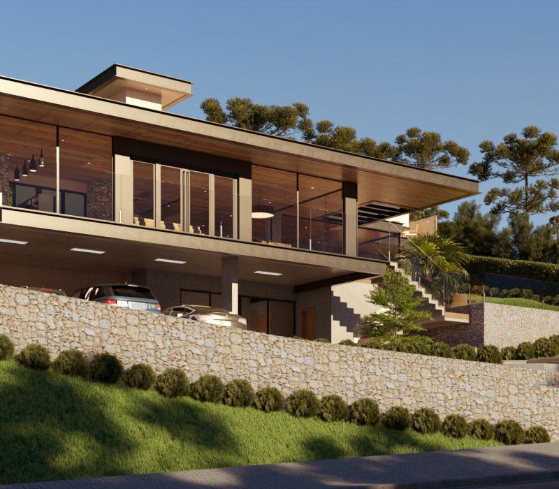 Casa com janelas amplas e dois carros na garagem.
