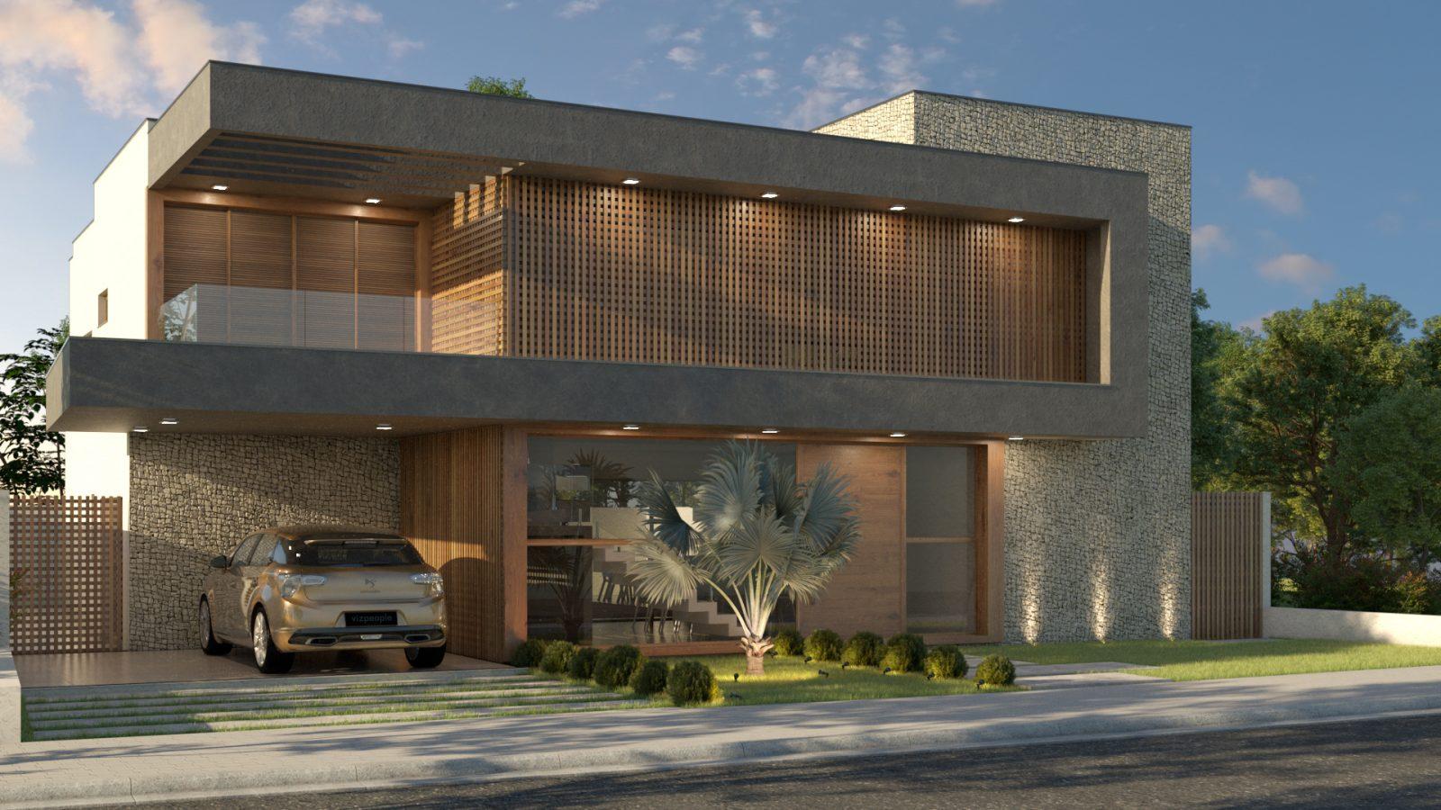 Vista lateral de uma casa quadrada, com amplas janelas, e um carro na garagem.