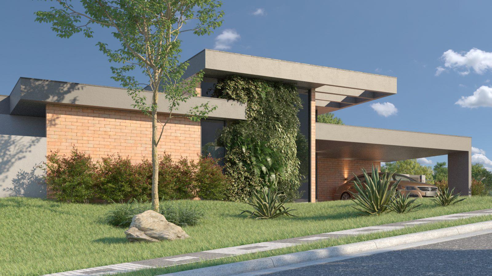 Lateral casa modernista tijolinhos, com um carro na garagem.