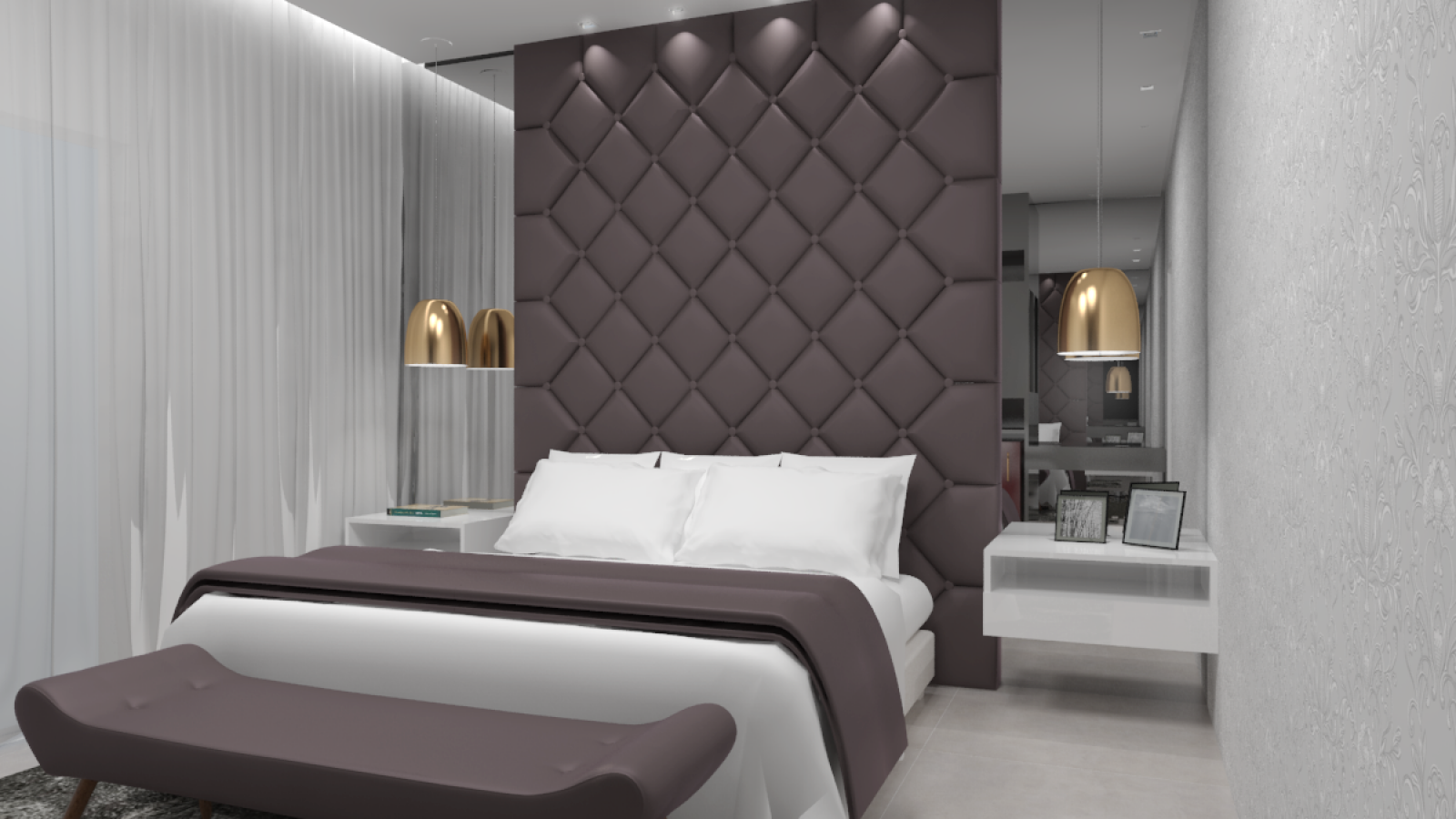 Quarto de casal com cama de casal, painel com acabamento em couro e paredes brancas. Luminárias douradas.