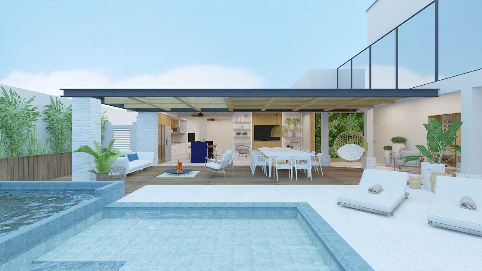 Área externa da casa, com piscina, mesa e cadeiras brancas.