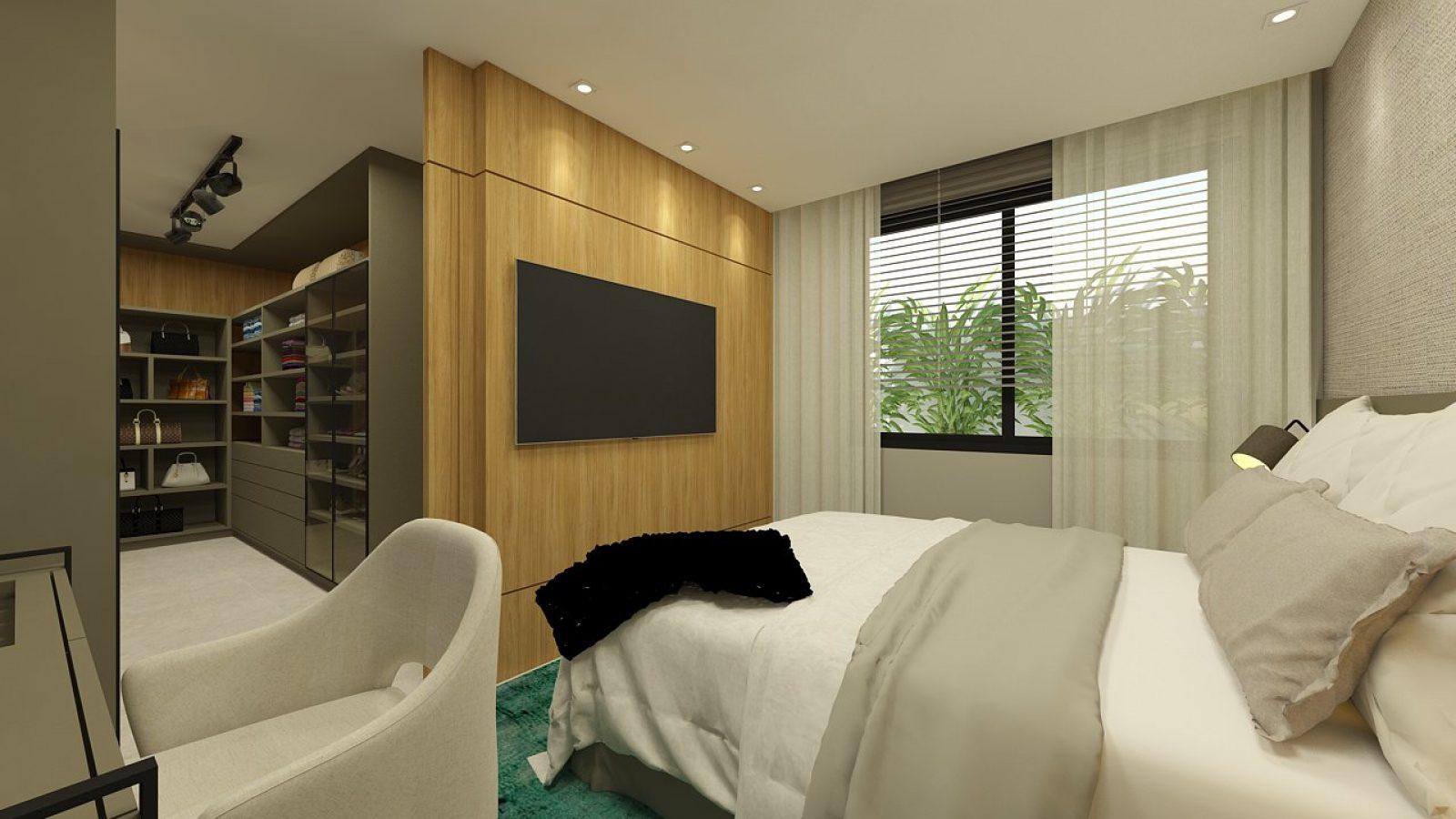 Quarto de casa com cama de casal, TV e closet.