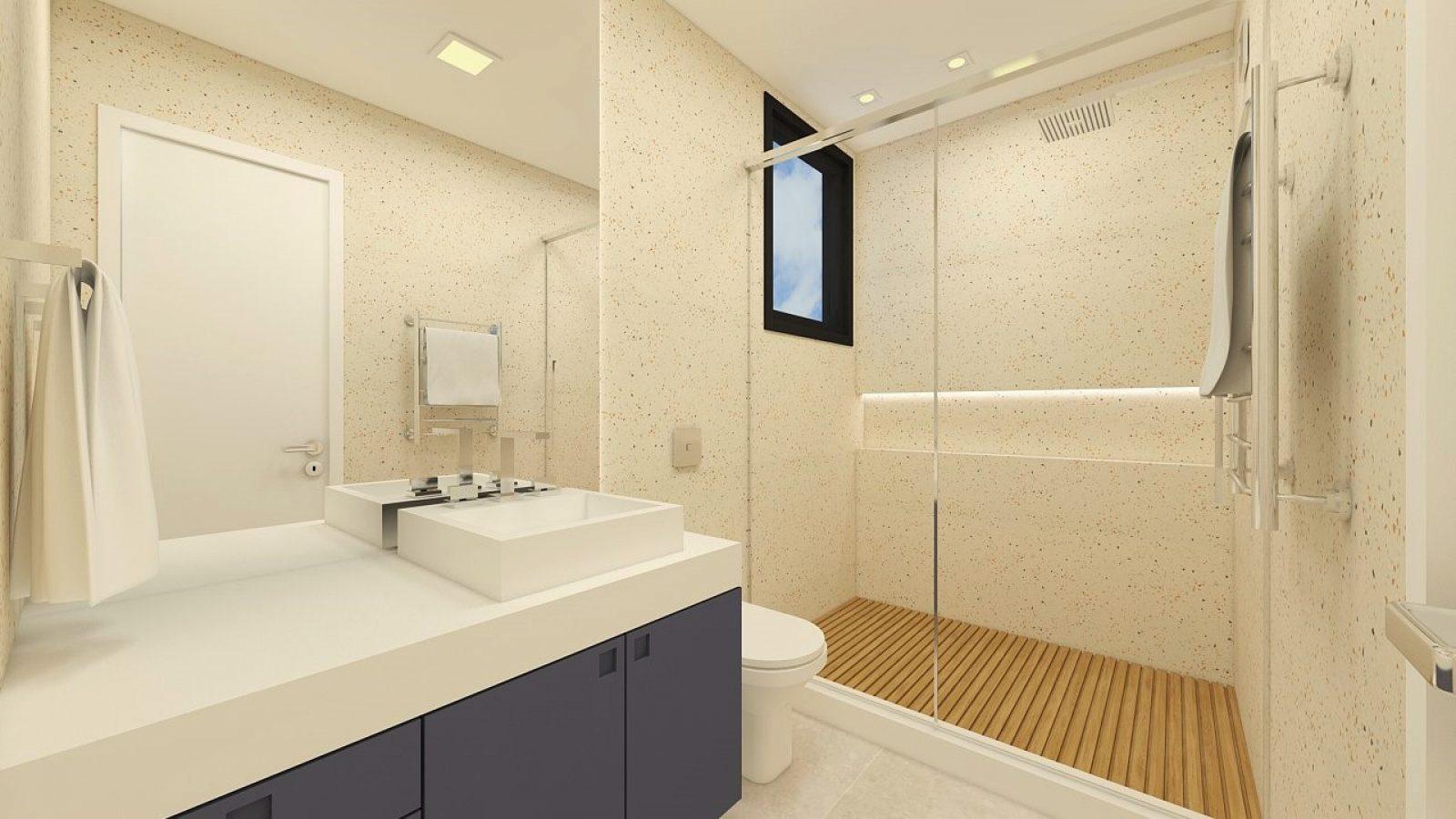 Banheiro com pia, área do chuveiro e janelas. Porta branca.