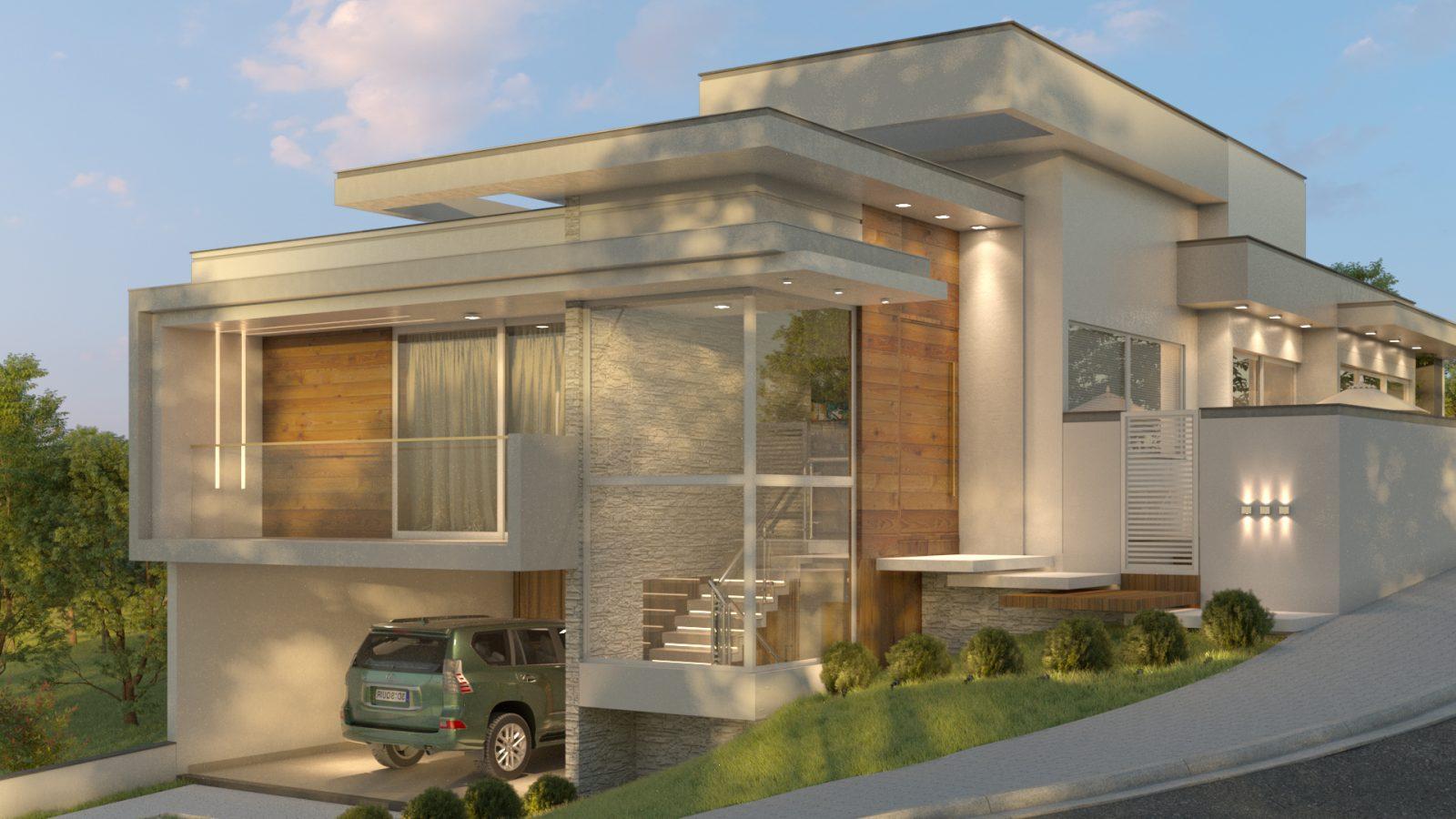 Vista lateral de uma casa com amplas janelas e um carro na garagem.