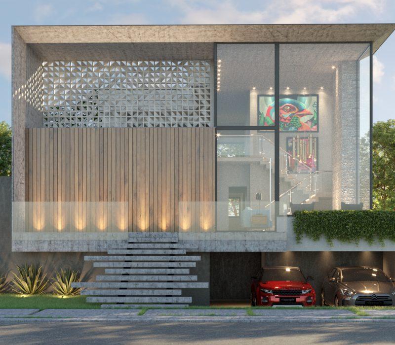 Fachada casa quadrada, com amplas janelas, e dois carro na garagem.